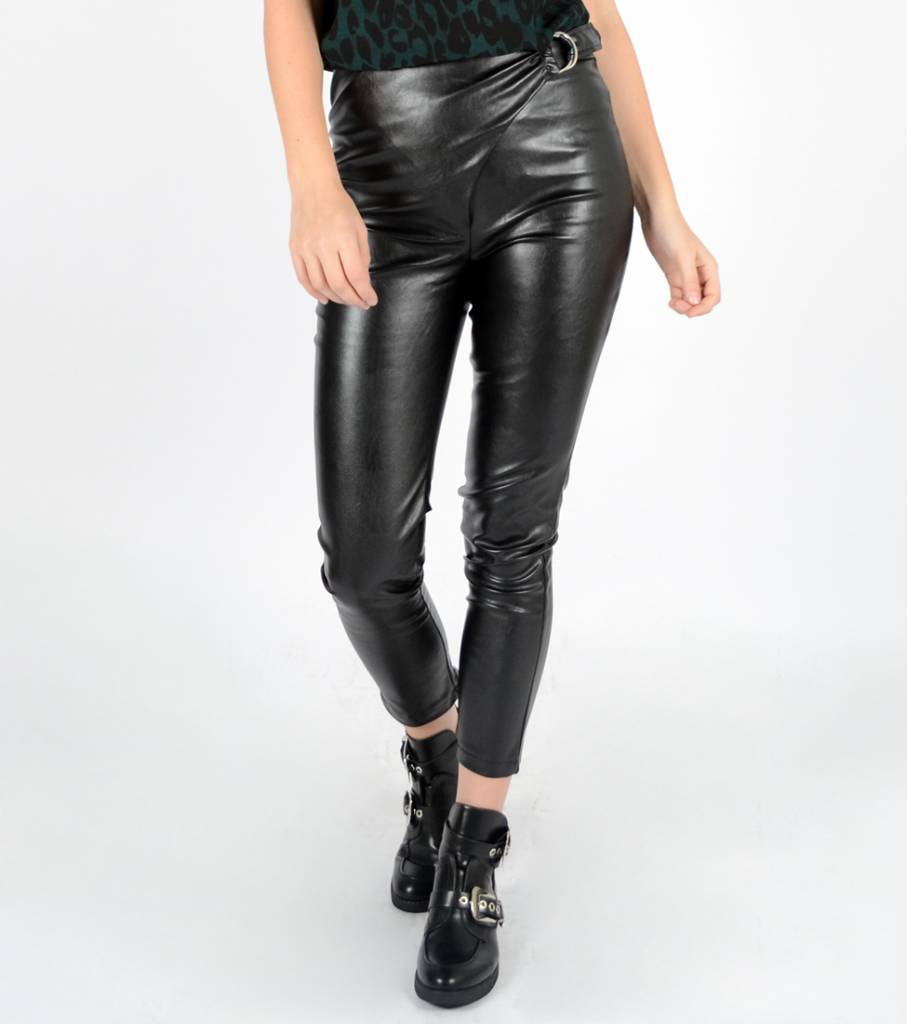 BLACK LEATHER BELT PANTS