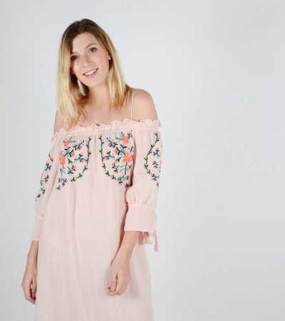PINK GIRLY OFF SHOULDER DRESS