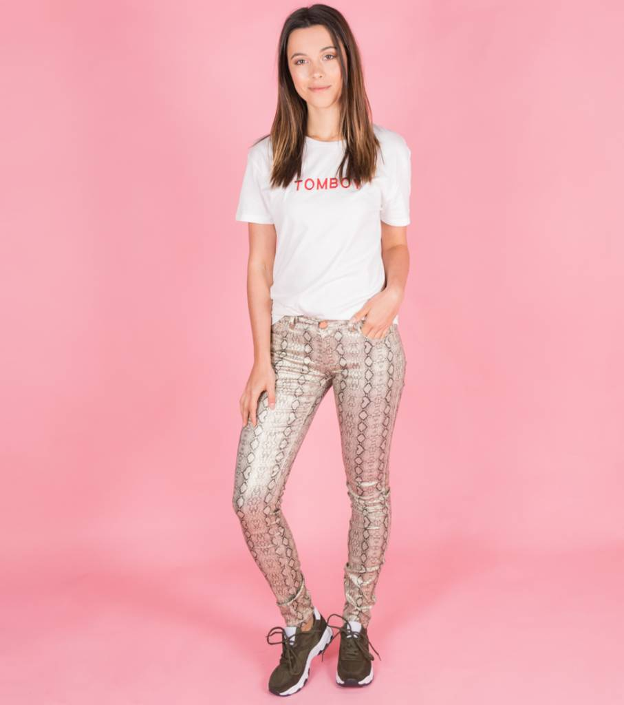 GOLD SNAKE PATTERN TROUSERS