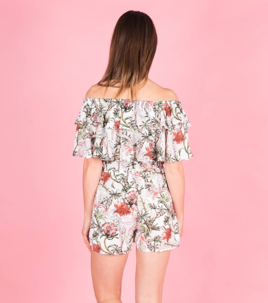 WILD FLOWER FIELD WHITE PLAYSUIT