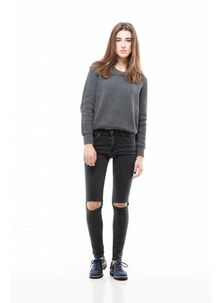Dr. Denim Destroyed Jeans Regina Old Black