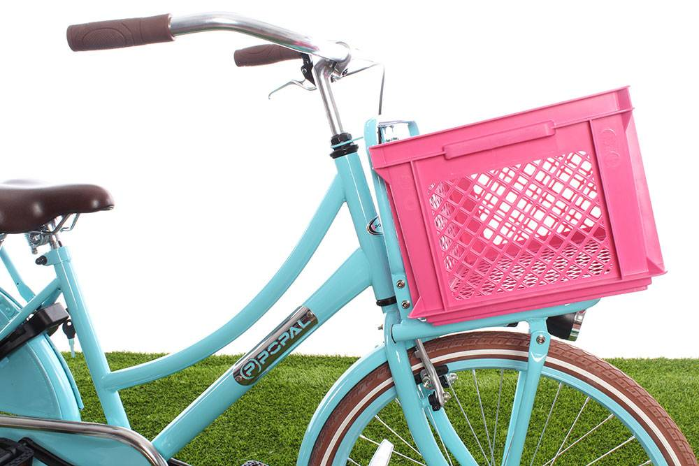 Roze fietskratten - kunststof fietskrat in het roze