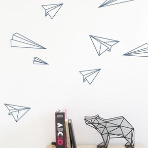 Moonwalk Teddybear Muursticker Paper Planes 36 stuks Zwart