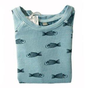 Lotiekids Lotiekids Jersey Tshirt Katoen Fishes Bluegreen