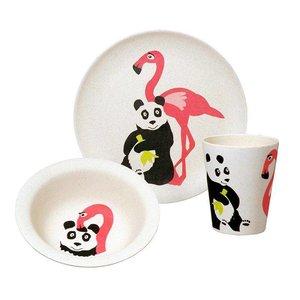 Zuperzozial Bamboe eetset Flamingo en panda