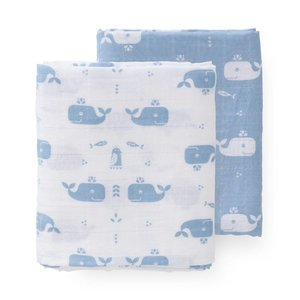 Fresk hydrofieldoeken set 2 stuks 120 x 120 cm Whale blue