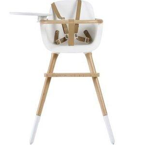 Ovo Ovo highchair - kinderstoel wit met tray en bruine kunstlederen riempjes