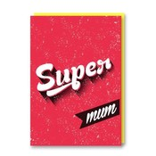 Dubbele wenskaart met envelop Super Mom