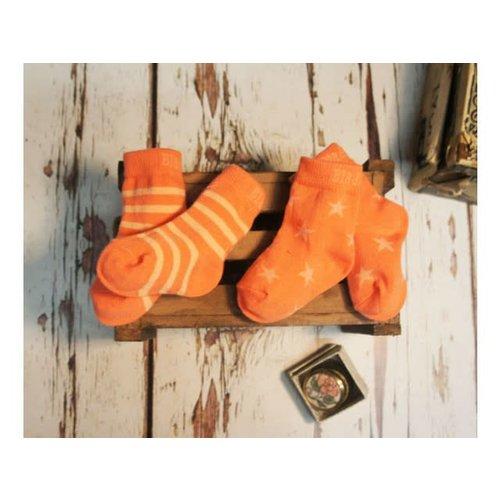 Blade & Rose sokjes Salmon & Coral stripe/star