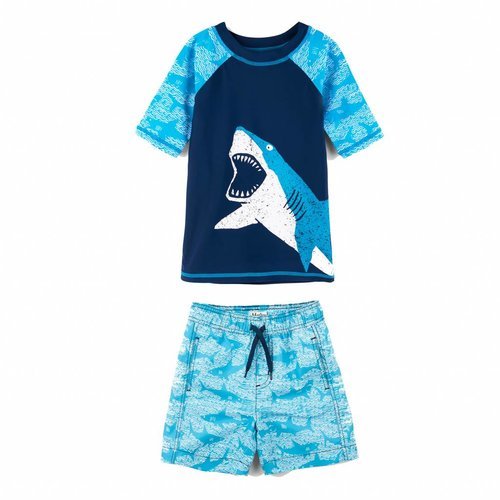 Hatley Shark Alley Mini Rashguard set shorts & shirt 2 - 3 jaar