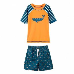 Hatley Tiny whales Rashguard set shorts & shirt met UV bescherming 50+