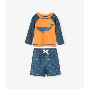 Hatley Tiny whales Mini Rashguard set shorts & shirt met UV bescherming 50+