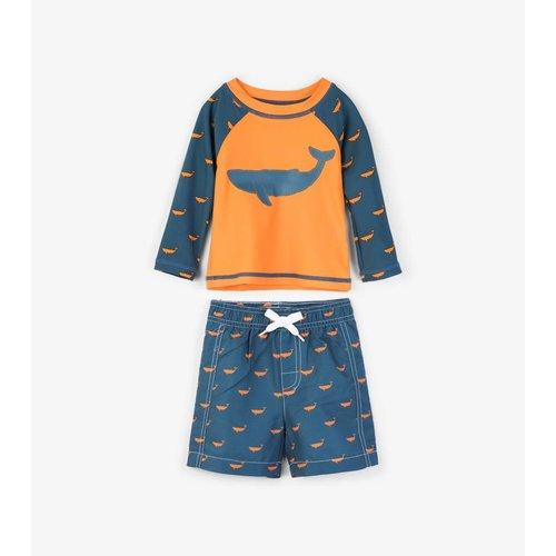 Hatley Tiny whales Mini Rashguard set shorts & shirt 0 - 24 m