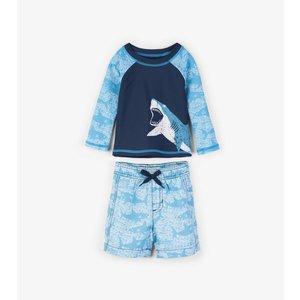 Hatley Shark Alley Mini Rashguard set shorts & shirt met UV bescherming 50+