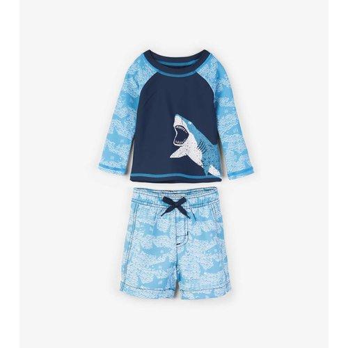 Hatley Shark Alley Mini Rashguard set shorts & shirt 0 - 24 m