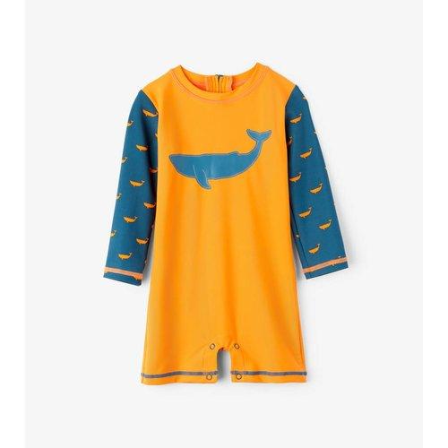Hatley Tiny whales Mini Rashguard One-Piece - zwempak met UV bescherming 50+