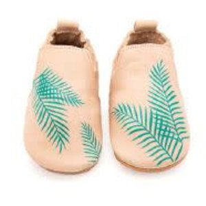 Boumy Boumy leren slofjes Rio Exotic Leaf Pastel Pink Leather
