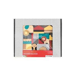 Petit Collage Bouwblokken hout safari dieren +18m Petit Collage