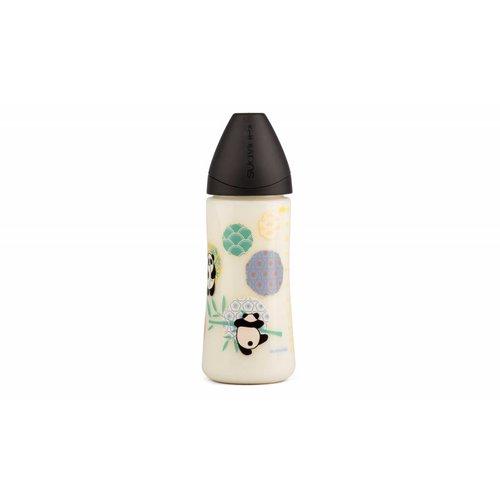 Suavinex Suavinex fles Panda 360 ml Large siliconen anatomische speen en anti-krampjes systeem Zwart