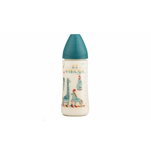 Suavinex Suavinex fles Circus 360 ml Large siliconen anatomische speen en anti-krampjes systeem Aqua- Blauw