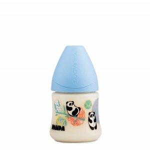 Suavinex Suavinex fles Panda 150 ml Small siliconen anatomische speen en anti-krampjes systeem Blauw