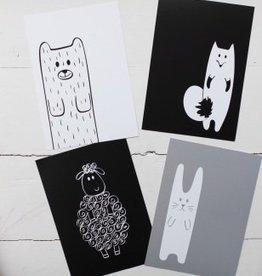 Belo & Me Monochrome Animals Nursery Prints