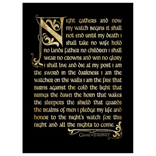 Game of Thrones - Night's Watch Oath Framed Print