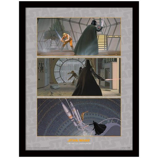 Star Wars - Luke Battles Vader Framed Print