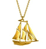 Alex Monroe - Billowing Sailed Ship Gold Necklace