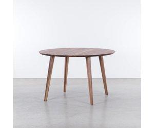 Retro Tafel Rond : Sav & okse tomrer ronde tafel walnoot de machinekamer