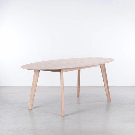 Samt ovale tafel Eiken Whitewash