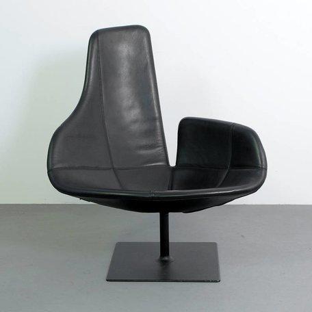 Urquiola Fjord fauteuil zwart leer Moroso