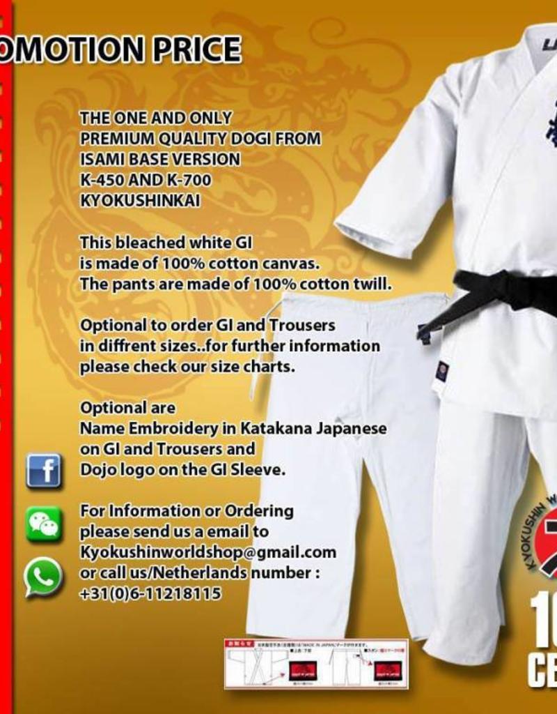 ISAMI ISAMI K450/K700 SUPERIOR KYOKUSHINKAI KARATE GI