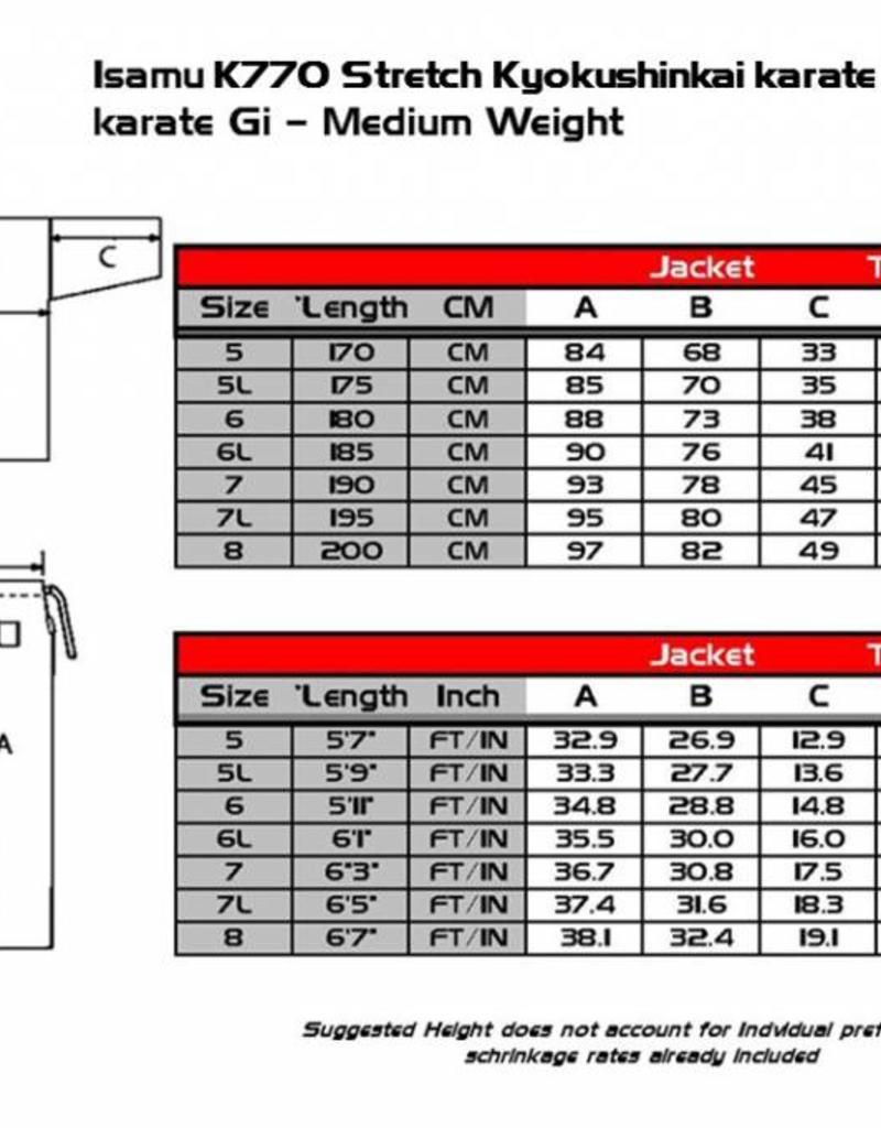 ISAMU Model K770 Stretch Full Contact Kyokushinkai Karate Gi