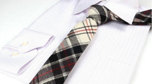 English Fashion Plaid Wool Tie White