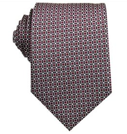 English Fashion Silk Tie Dark red checkered