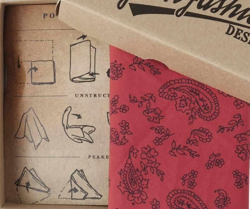English Fashion Red Paisley Pocket Square