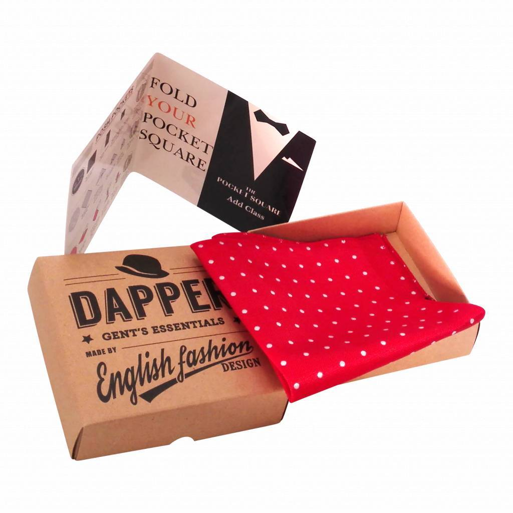 English Fashion Red Polkadot Pocketsquare