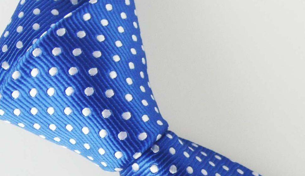 English Fashion Stropdas Polkadot Licht Blauw