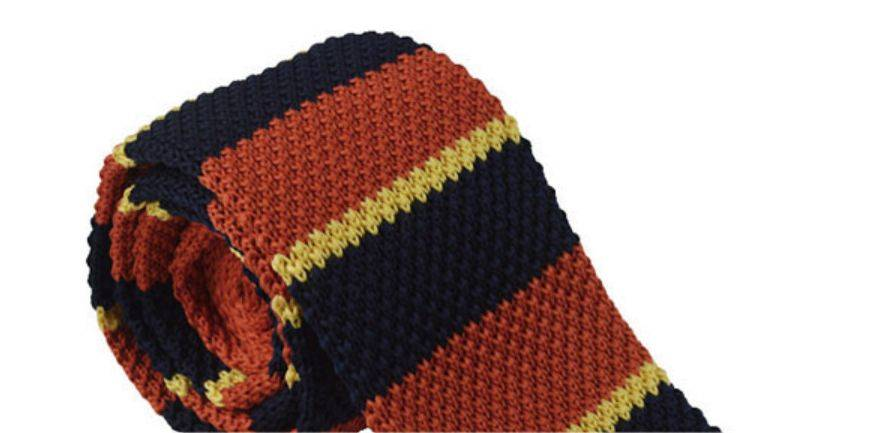 English Fashion Orange knitted tie