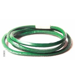 English Fashion Leren Wrap Armband Groen