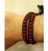English Fashion Handgemaakte Leren wrap armband Rood Agaat