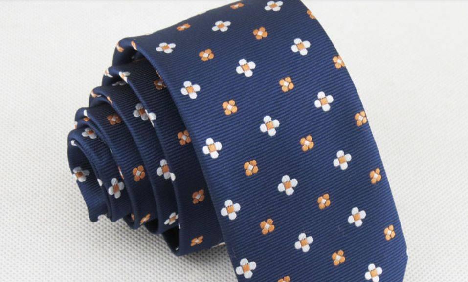 English Fashion Skinny Tie Floral Blauw