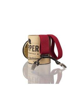 English Fashion bretellen Rood met Leer 6-clips
