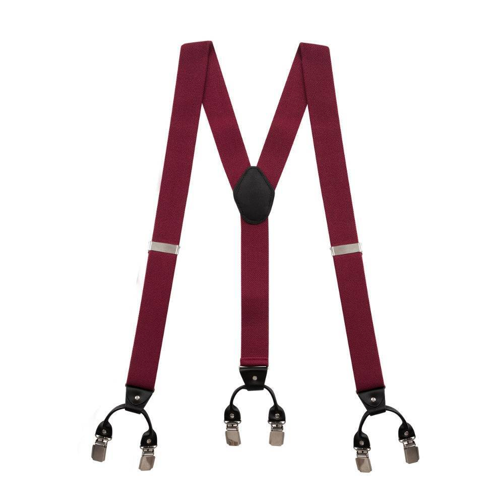 English Fashion Suspenders Red with Leather: 6-clips
