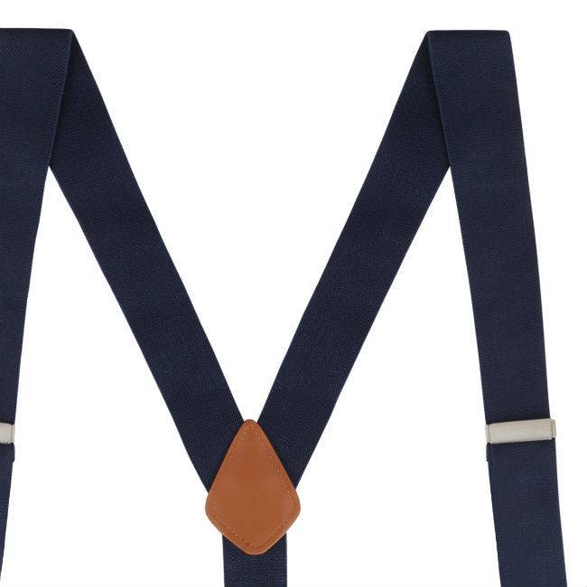 English Fashion Navy blauwe Bretellen met knopen