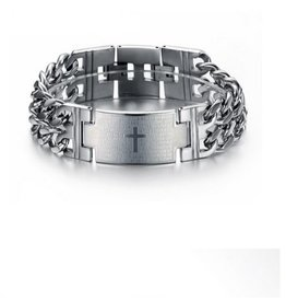 English Fashion Stainless Steel Cross Bracelet