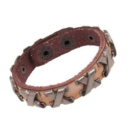 English Fashion Leather Bracelet with metal Cross
