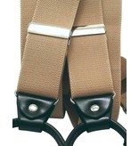 English Fashion Suspenders Beige with Leather: 6-clips