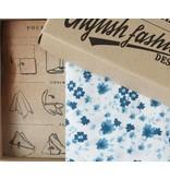 English Fashion pochettete Katoen blauw bloem patroon